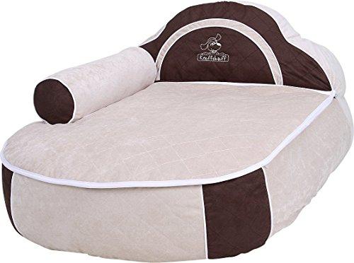 knuffelwuff 12757 hundebett prestige gr e xl 100 x 72 cm wei braun haustier. Black Bedroom Furniture Sets. Home Design Ideas