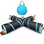 Xinweilan-Katze-Tunnel-Spielzeug-4-Weg-Tunnels-Faltbare-Haustier-Spielen-Tunnel-Tube-Toys-House-mit-Pompon-und-Aufbewahrungstasche-fr-Groe-Katzen-Hunde-Kaninchen-Innen-Aueneinsatz-gro-0