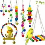 7-Stck-Bunten-Vogelspielzeug-Vgel-Spielzeug-Vogel-Papagei-Schaukel-Spielzeug-mit-Naturholz-Hngematte-Hngenden-Barsch-fr-Sittiche-Nymphensittiche-sittichen-Aras-Papageien-Love-Birds-Finken-0