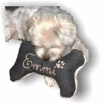 Hunde-Spielzeug-Kissen-Knochen-Hundeknochen-mit-oder-ohne-Quitescher-schwarz-XXS-XS-S-M-L-XL-XXL-Name-Wunschname-Hundekissen-bestickt-personalisiert-persnliches-Geschenk-Unikat-0