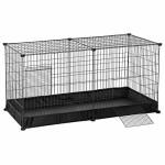 SONGMICS-Laufgitter-Meerschweinchen-Kfig-Freigehege-fr-Kaninchen-mit-wasserfester-Unterlage-und-2-Tren-DIY-Auslauf-aus-Metall-Kleintiergehege-Innenbereich-123-x-63-x-61-cm-schwarz-LPI05H-0